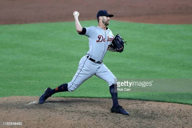 Pitcher Shane Greene of the Detroit Tigers throws to a Baltimore Orioles batter in the ninth inning at Oriole Park at Camden Yards on May 29 2019 in...