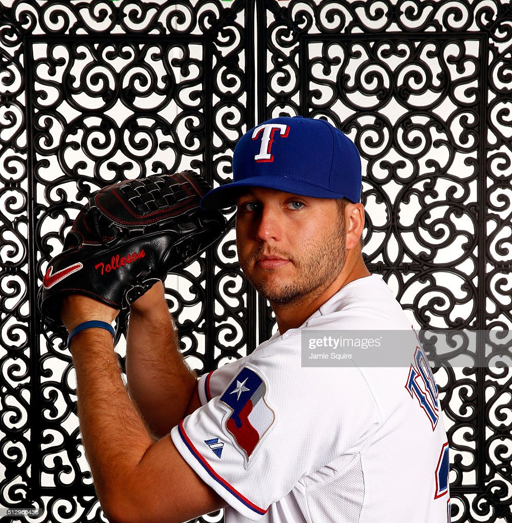 Pitcher Shawn Tolleson #37 of the Texas Rangers poses during a spring training photo shoot on February 28, 2016 in Surprise, Arizona.