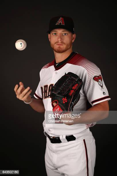 Pitcher Shelby Miller of the Arizona Diamondbacks poses for a portrait during photo day at Salt River Fields at Talking Stick on February 21 2017 in...