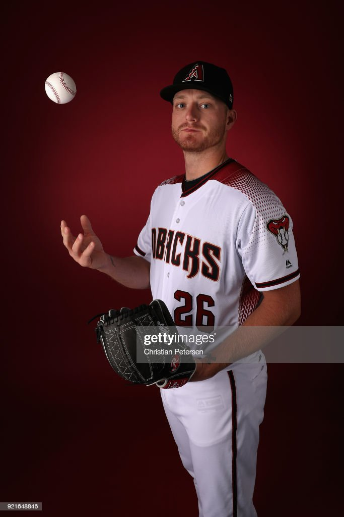 Pitcher Shelby Miller #26 of the Arizona Diamondbacks poses for a portrait during photo day at Salt River Fields at Talking Stick on February 20, 2018 in Scottsdale, Arizona.