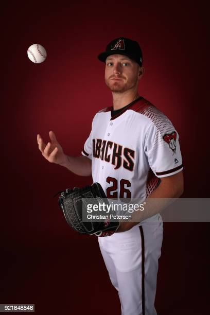 Pitcher Shelby Miller of the Arizona Diamondbacks poses for a portrait during photo day at Salt River Fields at Talking Stick on February 20 2018 in...