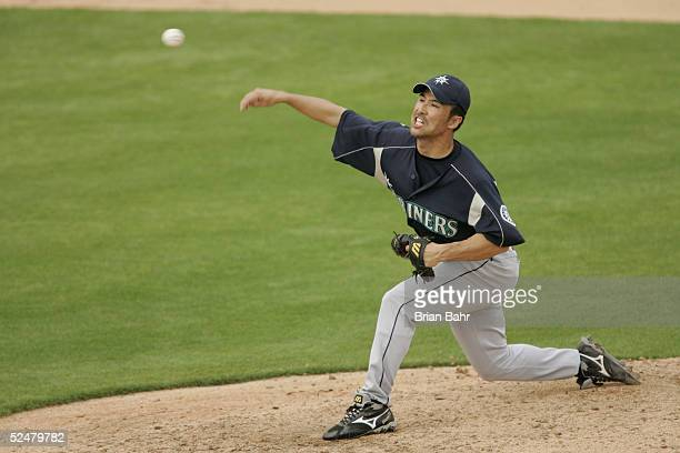 Pitcher Shigetoshi Hasegawa of the Seattle Mariners delivers a pitch against the Milwaukee Brewers during a spring training game on March 4 2005 at...