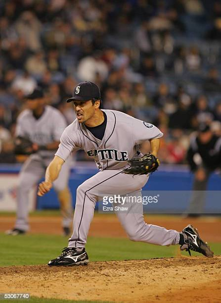 Pitcher Shigetoshi Hasegawa of the Seattle Mariners delivers a pitch against the New York Yankees during the game at Yankee Stadium on May 10 2005 in...