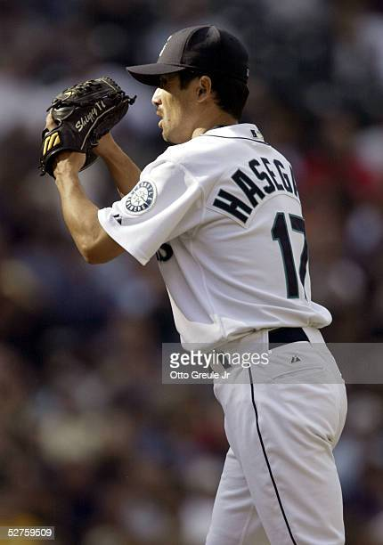 Pitcher Shigetoshi Hasegawa of the Seattle Mariners pitches against the Los Angeles Angels of Anaheim on May 4 2005 at Safeco Field in Seattle...