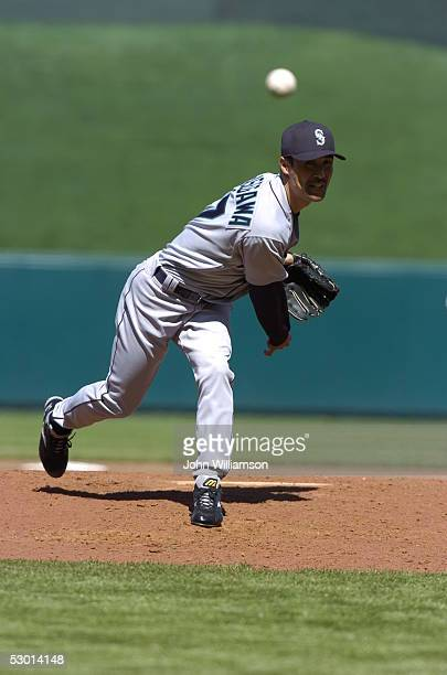Pitcher Shigetoshi Hasegawa of the Seattle Mariners pitches during the game against the Kansas City Royals at Kauffman Stadium on April 13 2005 in...