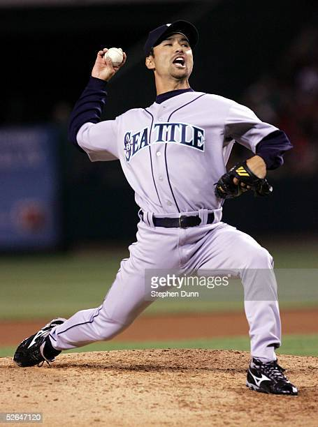 Pitcher Shigetoshi Hasegawa of the Seattle Mariners throws a pitch against the Los Angeles Angels of Anaheim at Angel Stadium on April 18 2005 in...