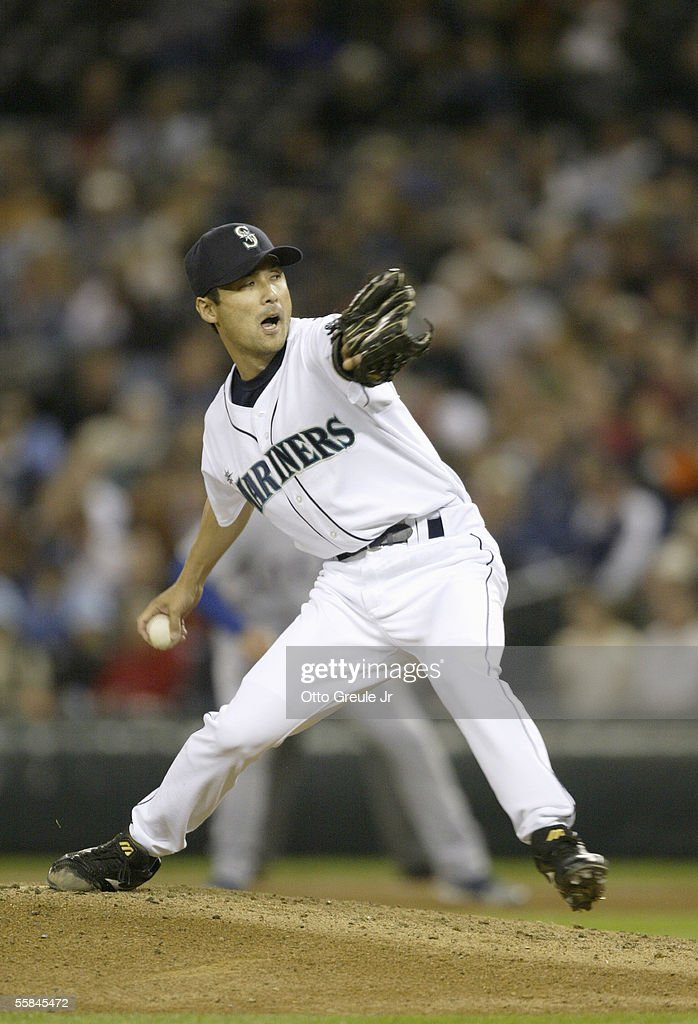 Pitcher Shigetoshi Hasegawa#17 of the Seattle Mariners winds back to pitch during the game against the Texas Rangers on September 28 2005 at Safeco Field in Seattle Washington. The Rangers won 7-3.