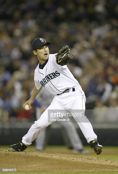 Pitcher Shigetoshi Hasegawa#17 of the Seattle Mariners winds back to pitch during the game against the Texas Rangers on September 28 2005 at Safeco...