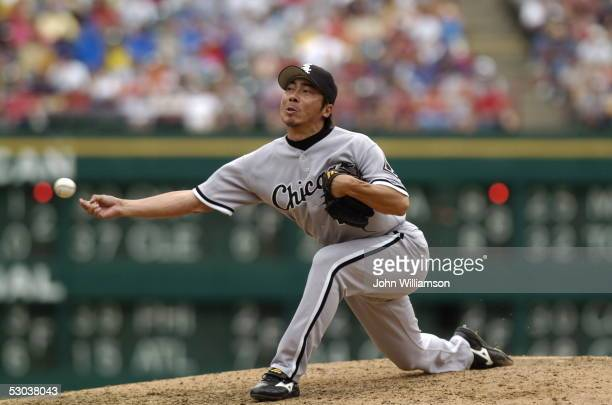 Pitcher Shingo Takatsu of the Chicago White Sox pitches during the game against the Texas Rangers at Ameriquest Field in Arlington on May 29 2005 in...