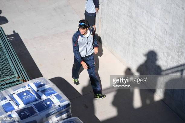 Pitcher Shintaro Fujinami of Japan is seen on arrival at the stadium prior to the exhibition game between Japan and Chicago Cubs at Sloan Park on...