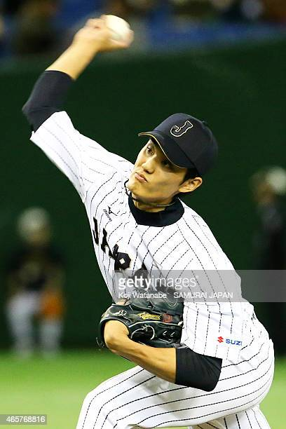 pitcher Shintaro Fujinami of Samurai Japan pitches in the six inning during Samurai Japan v All Euro match at the Tokyo Dome on March 10 2015 in...