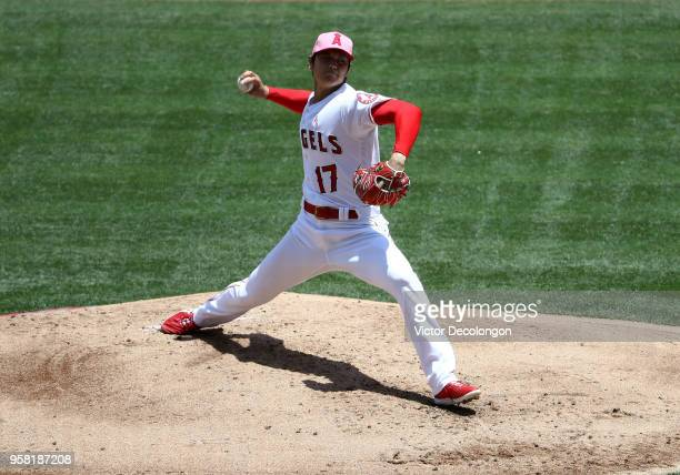 Pitcher Shohei Ohtani of the Los Angeles Angels of Anaheim pitches in the second inning during the MLB game against the Minnesota Twins at Angel...