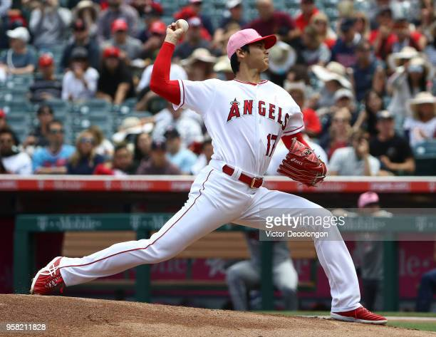 PItcher Shohei Ohtani of the Los Angeles Angels of Anaheim pitches in the first inning during the MLB game against the Minnesota Twins at Angel...