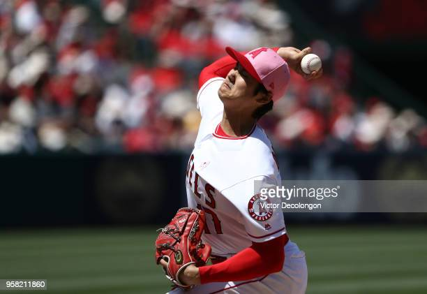 PItcher Shohei Ohtani of the Los Angeles Angels of Anaheim pitches in the fourth inning during the MLB game against the Minnesota Twins at Angel...