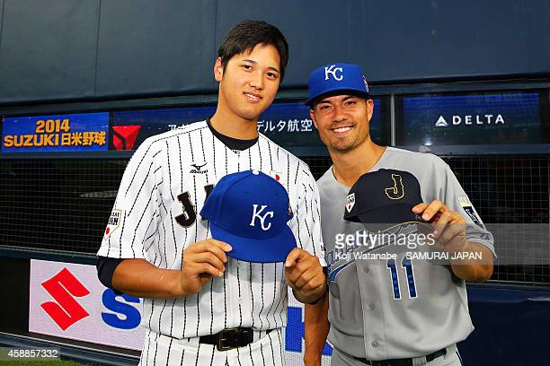 Pitcher Shohei Otani of Samurai Japan and Jeremy Guthrie poses during the game one of Samurai Japan and MLB All Stars at Kyocera Dome Osaka on...