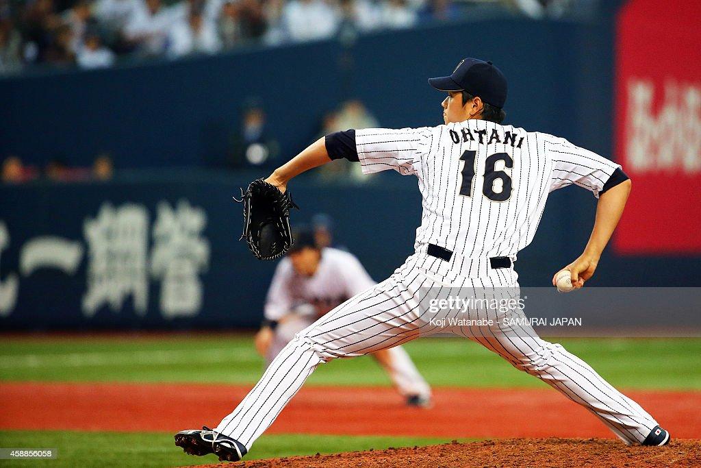 Pitcher Shohei Otani #16 of Samurai Japan throws against MLB All Stars in the eighth inning during the game one of Samurai Japan and MLB All Stars at Kyocera Dome Osaka on November 12, 2014 in Osaka, Japan.