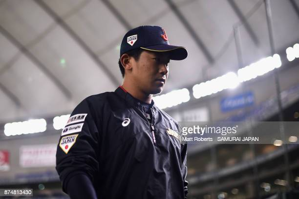 Pitcher Shota Imanaga of Japan looks on prior to the Eneos Asia Professional Baseball Championship 2017 game between Japan and South Korea at Tokyo...