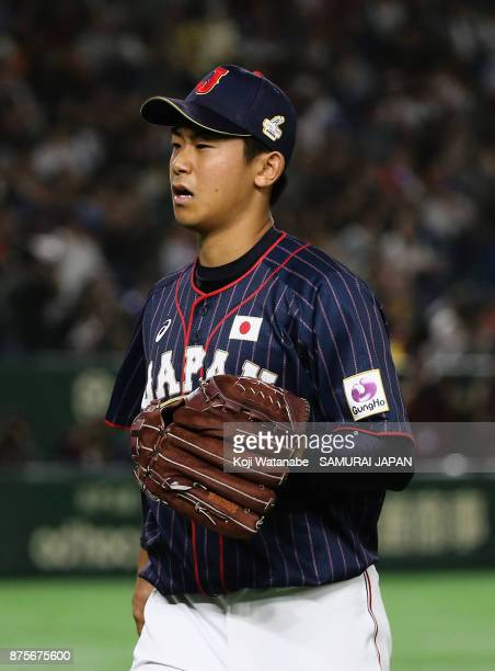 Pitcher Shota Imanaga of Japan returns to the dugout after the bottom of fourth inning during the Eneos Asia Professional Baseball Championship 2017...