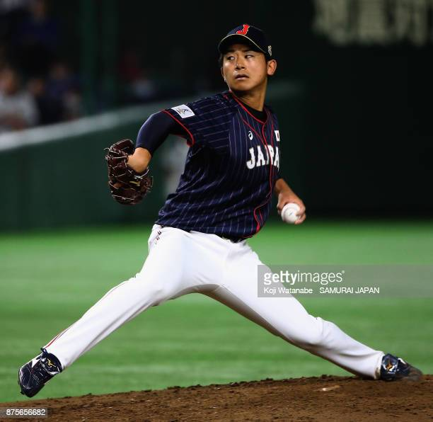 Pitcher Shota Imanaga of Japan throws in the bottom of third inning during the Eneos Asia Professional Baseball Championship 2017 game between...