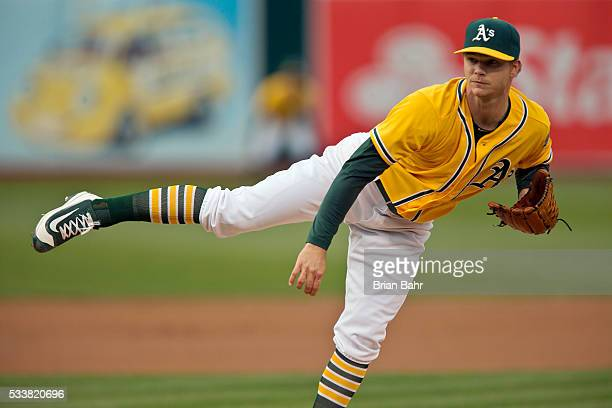 Pitcher Sonny Gray of the Oakland Athletics follows through on a pitch against the New York Yankees in the first inning at Oco Coliseum on May 20...
