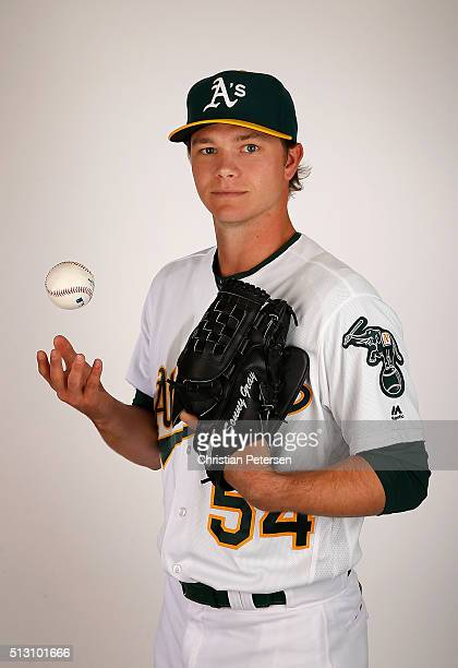 Pitcher Sonny Gray of the Oakland Athletics poses for a portrait during the spring training photo day at HoHoKam Stadium on February 29 2016 in Mesa...