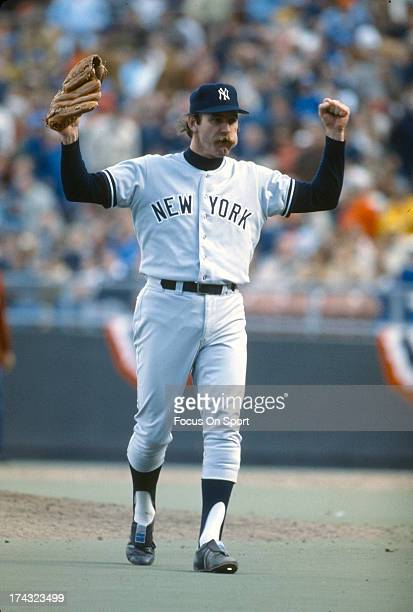 Pitcher Sparky Lyle of the New York Yankees celebrates defeating the Kansas City Royals 6-4 in Game 4 of the ALCS October 8, 1977 at Royals Stadium...