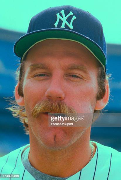Pitcher Sparky Lyle of the New York Yankees chews on chewing tobacco before the start a Major League Baseball game circa 1976 at Yankee Stadium in...