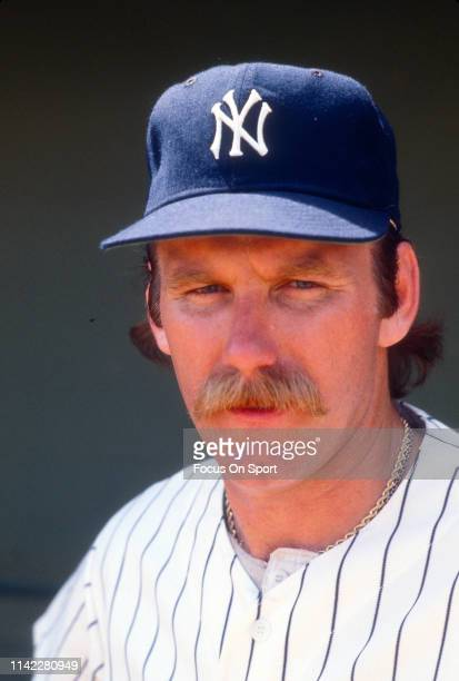 Pitcher Sparky Lyle of the New York Yankees looks on in this portrait before the start a Major League Baseball game circa 1976 at Yankee Stadium in...