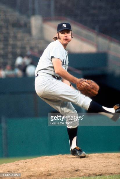 Pitcher Sparky Lyle of the New York Yankees pitches against the Baltimore Orioles during a Major League Baseball game circa 1972 at Memorial Stadium...