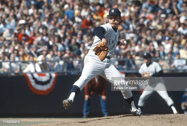 Pitcher Sparky Lyle of the New York Yankees pitches against the Kansas City Royals in Game 4 of the ALCS October 8, 1977 at Royals Stadium in Kansas...