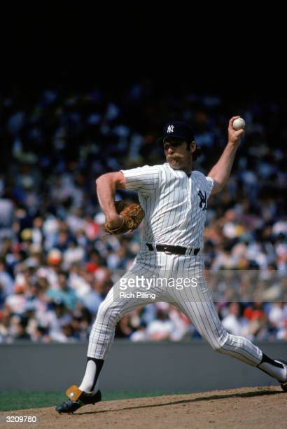 Pitcher Sparky Lyle of the New York Yankees pitches during a game in the 1978 season at Yankee Stadium in Bronx, New York.