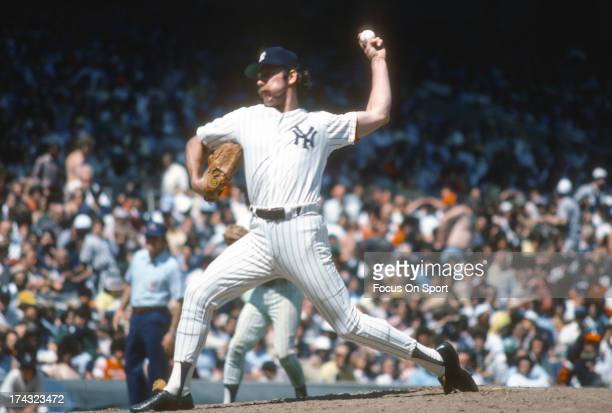 Pitcher Sparky Lyle of the New York Yankees pitches during a Major League Baseball game circa 1977 at Yankee Stadium in the Bronx Borough of New York...