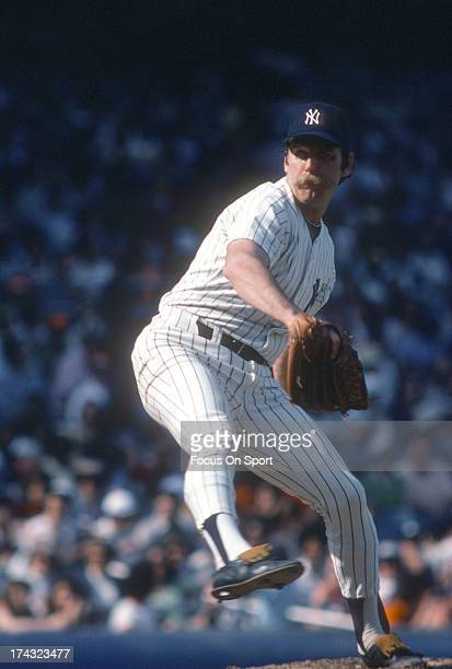 Pitcher Sparky Lyle of the New York Yankees pitches during a Major League Baseball game circa 1975 at Yankee Stadium in the Bronx Borough of New York...
