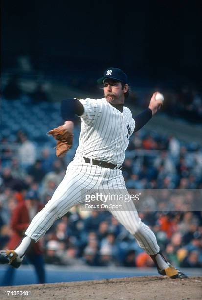 Pitcher Sparky Lyle of the New York Yankees pitches during a Major League Baseball game circa 1978 at Yankee Stadium in the Bronx Borough of New York...