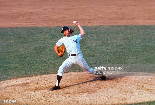 Pitcher Sparky Lyle of the New York Yankees pitches during a Major League Baseball game circa 1972 at Yankee Stadium in the Bronx Borough of New York...