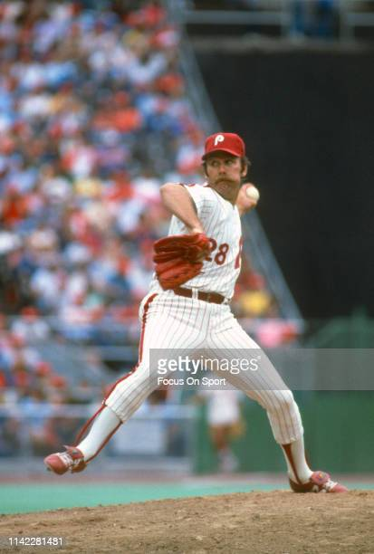 Pitcher Sparky Lyle of the Philadelphia Phillies pitches during an Major League Baseball game circa 1982 at Veterans Stadium in Philadelphia,...