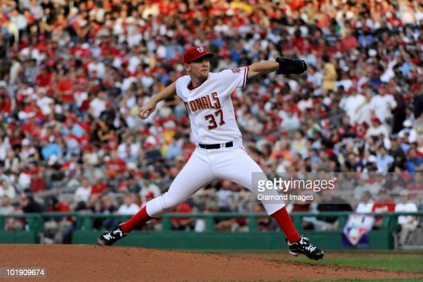 Pitcher Stephen Strasburg of the Washington Nationals throws a pitch during the top of the third inning of his major league debut in a game on June 8...