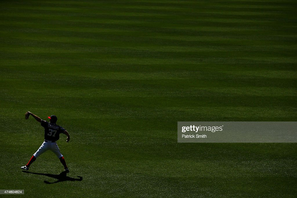 Pitcher Stephen Strasburg #37 of the Washington Nationals warms up before playing the Philadelphia Phillies at Nationals Park on May 23, 2015 in Washington, DC. The Philadelphia Phillies won, 8-1.