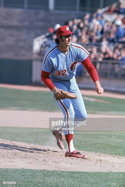 Pitcher Steve Carlton of the Philadelphia Phillies on the mound circa 1972-86.