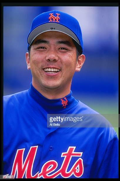Pitcher Takashi Kashiwada of the New York Mets smiles during a game against the San Diego Padres at Shea Stadium in Flushing New York The Mets won...