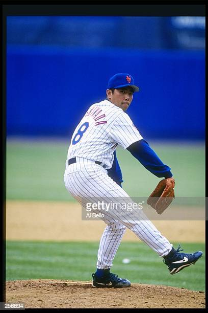 Pitcher Takashi Kashiwada of the New York Mets throws a pitch during a game against the San Diego Padres at Shea Stadium in Flushing New York The...