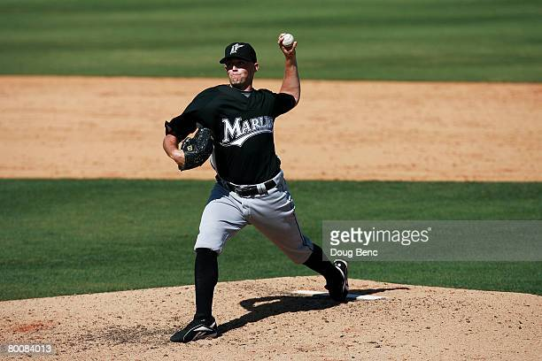 Pitcher Taylor Tankersley of the Florida Marlins pitches against the St Louis Cardinals during a Spring Training game at Roger Dean Stadium on March...