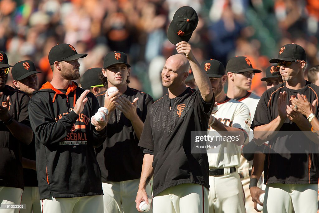 Pitcher Tim Hudson #17 of the San Francisco Giants acknowledges the cheers from the crowd upon his retirement after a game against the Colorado Rockies at AT&T Park on October 4, 2015 in San Francisco, California, during the final day of the regular season. The Rockies won 7-3.