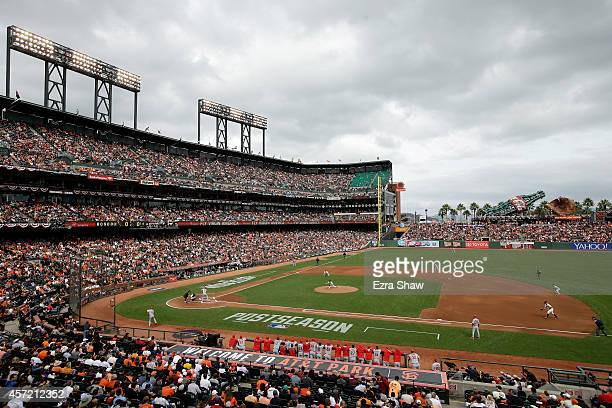Pitcher Tim Hudson of the San Francisco Giants throws the first pitch of the game to Matt Carpenter of the St Louis Cardinals in the first inning...