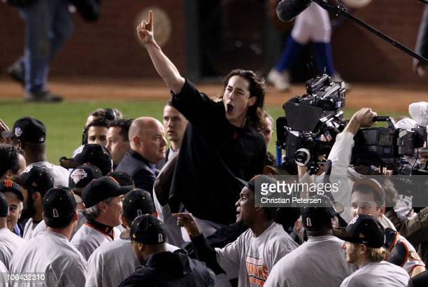 Pitcher Tim Lincecum of the San Francisco Giants and teammates celebrate defeating the Texas Rangers 31 to win the 2010 MLB World Series at Rangers...