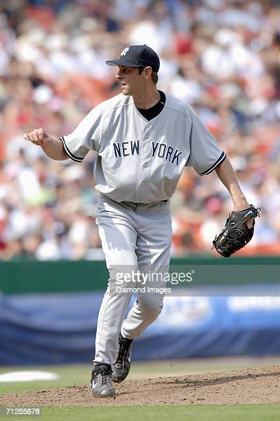 Pitcher TJ Beam of the New York Yankees follows through on a pitch during a game on June 17 2006 against the Washington Nationals at RFK Stadium in...