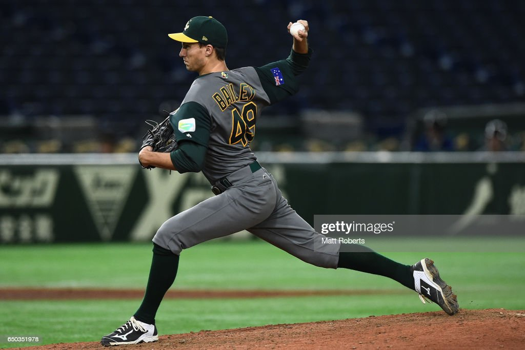 Pitcher Tom Bailey #49 of Australia throws in the bottom of the eighth inning during the World Baseball Classic Pool B Game Four between Australia and China at the Tokyo Dome on March 9, 2017 in Tokyo, Japan.