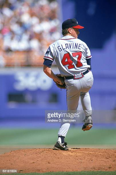Pitcher Tom Glavine of the Atlanta Braves winds back to pitch during a September 1991 season game Tom Glavine played for the Atlanta Braves from...