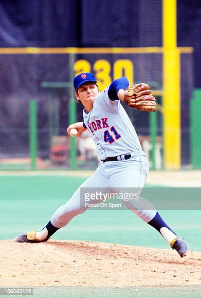 Pitcher Tom Seaver of the New York Mets pitches against the Philadelphia Phillies during a Major League Baseball game circa 1970 at Veterans Stadium...