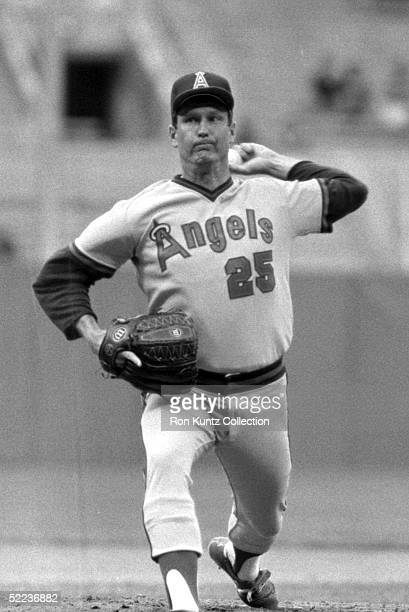 Pitcher Tommy John of the California Angels pitches during a game against the Cleveland Indians on May 30 1983 at Municipal Stadium in Cleveland Ohio
